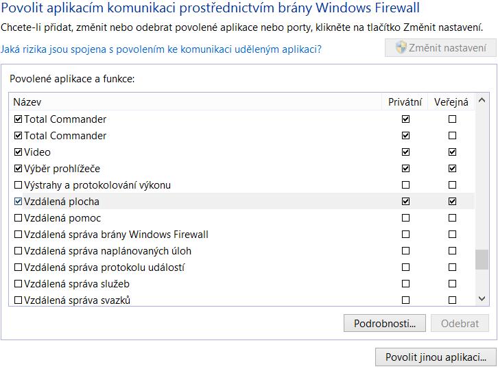 Povolení vzdálené plochy ve firewallu
