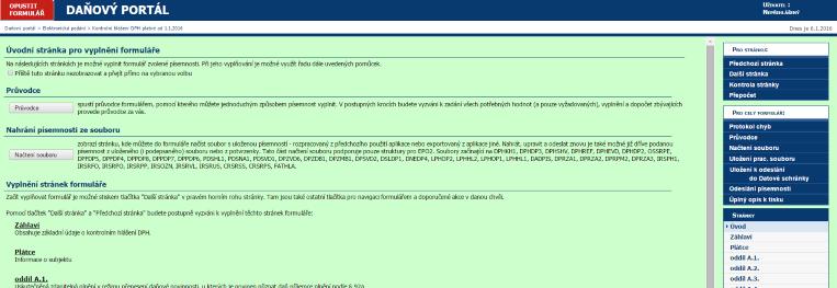 Náhled interaktivního formuláře na daňovém portálu