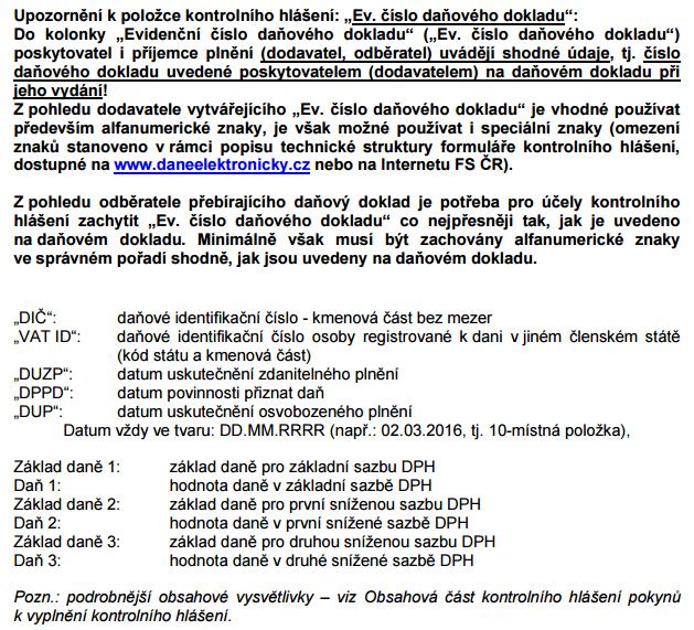 údaje zapisované do kontrolního hlášení verze 10.2.2016
